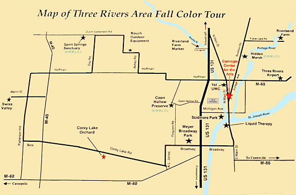 2010 Three Rivers Fall Color Tour Map